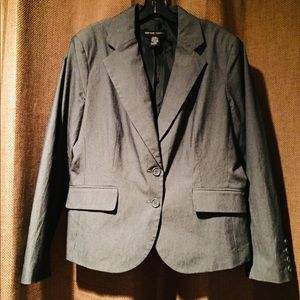 New York & Co Grey Pin Striped Lined Jacket Sz 16